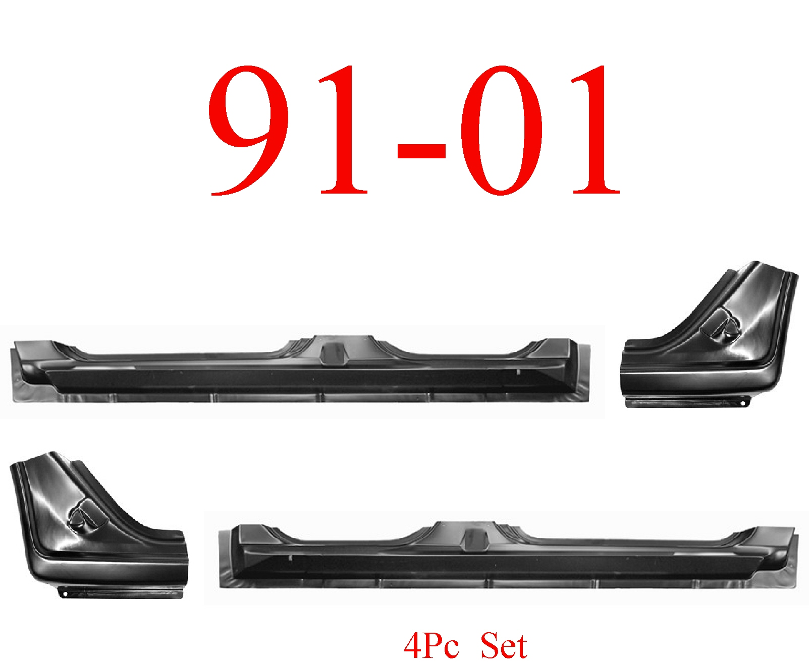 91-01 Ford Explorer 4Pc Extended Rocker & Dog Leg Kit 4 Door